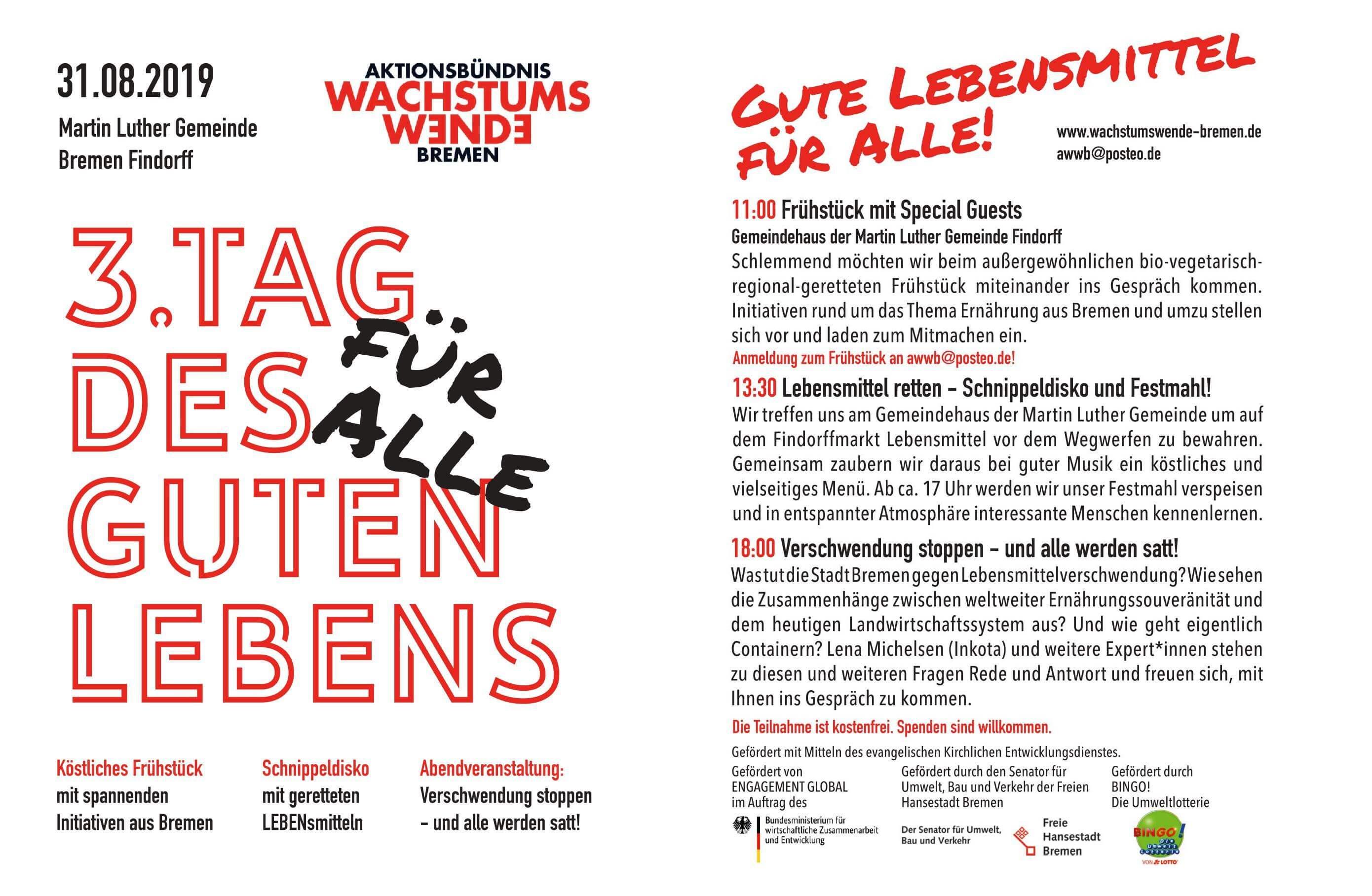 Herzliche Einladung zum 3. Bremer  Tag des Guten Lebens - für Alle! 1